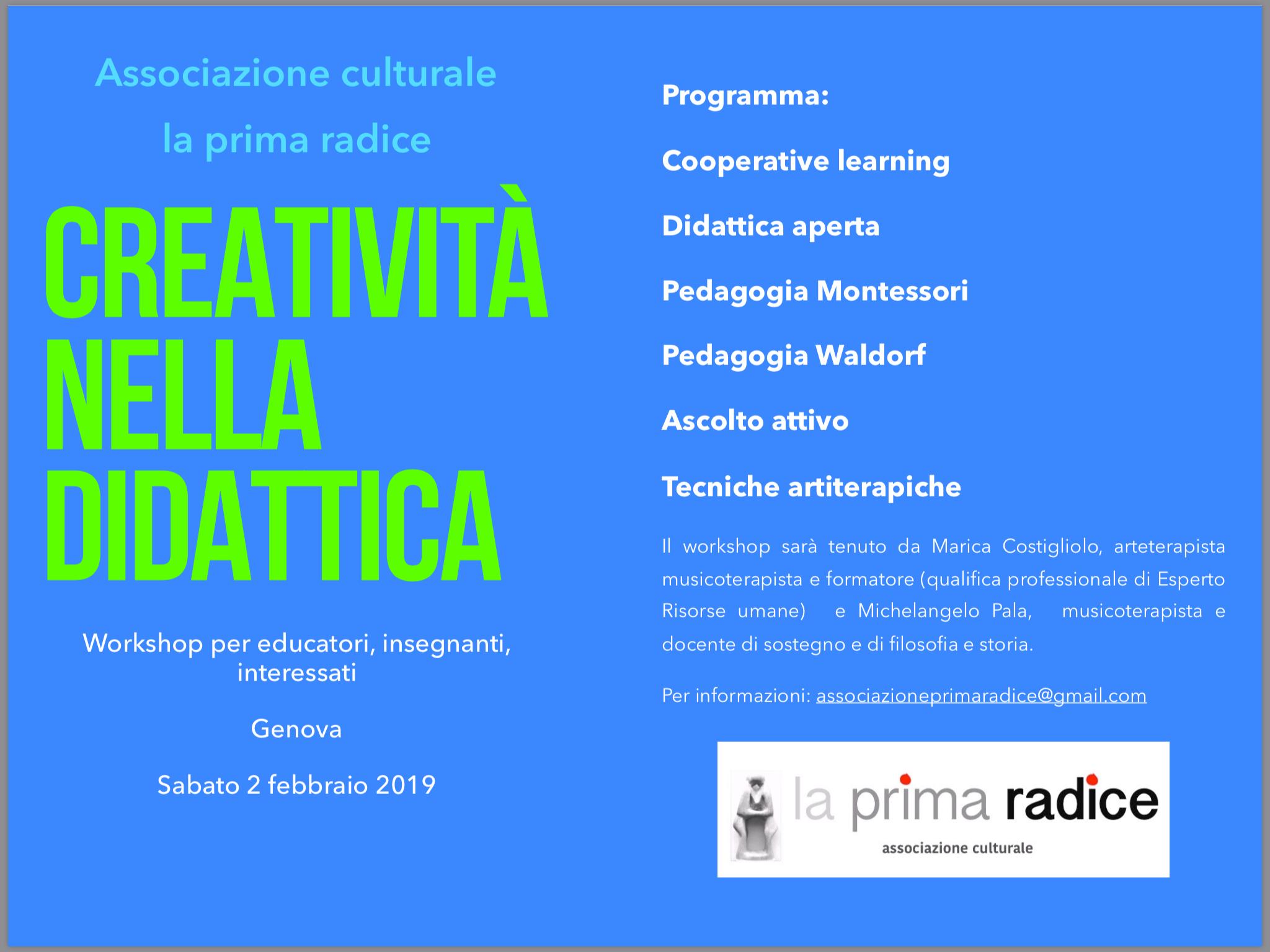 Workshop per docenti, educatori, genitori: Creatività nella didattica