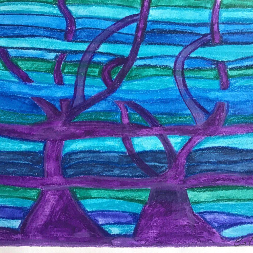 Marica Costigliolo, L'albero blu, matita su carta.